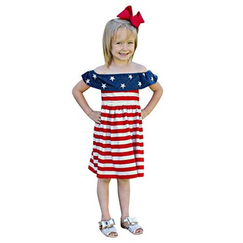 TEVEQ Kids Girls Dress 4th of July Star Stripe Ruffles Dress Princess Dresses Red -