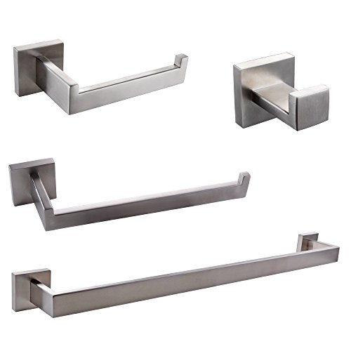 BigBig Home 4PCS Bathroom Hardware Set Modern Square Style SUS 304 Stainless Steel Toilet Paper Holder, Towel Ring, Robe Hook,Towel Bar, Brushed Finish Wall Mounted Tissue Hanger Bathroom Accessories (Holder Square Toilet Set Paper)