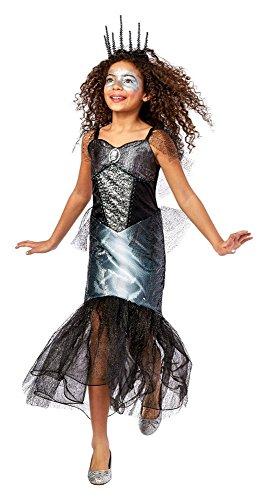 Costume Target Skeleton (Girls' Skeleton Mermaid Fish Scale Dress Deluxe Costume,Black/Silver,Large)