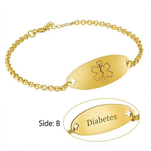 (Customize Medical Alert ID Tag Bracelet for Women Men 925 Sterling Silver 18K Gold Plating Free Engravable Emergency Adjustable Size (B-Golden))