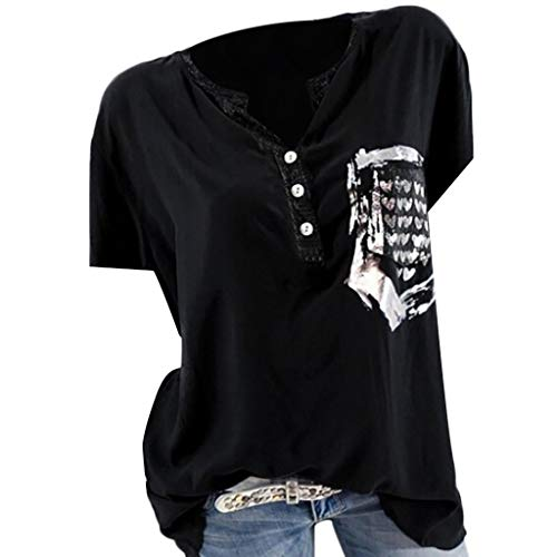 NCCIYAZ Womens T-Shirt Tops Pattern Printed Short Sleeve Summer Casual Pocket Half-Button Ladies Blouse(XL(8),Black)]()