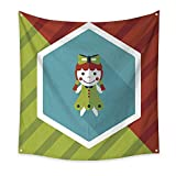 BlountDecor Pattern Tapestry Girl Doll Toy Flat icon with Long Shadow eps 47W x 47L Inch