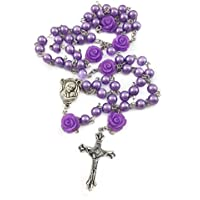 Catholic Purple Pearl Beads Rosary Necklace 6pcs Our Rose Holy Land Soil Mary Medal & Cross