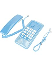 Pbzydu Desktop Corded Telephone, Wall Mount Landline Telephones Extension No Caller Id Home Phone For Hotel Family(Blue)