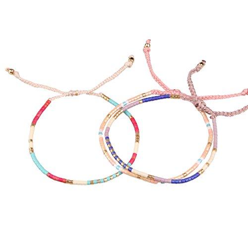 KELITCH Bohemia Crystal Charm Wrap Bracelets New Handmade Friendship Bracelets  Bangles 3 Pcs (Color 2)