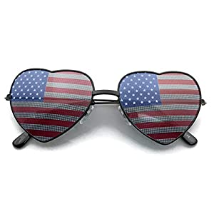 grinderPUNCH Women's Heart Shaped American Flag Cute Sunglasses US Shades