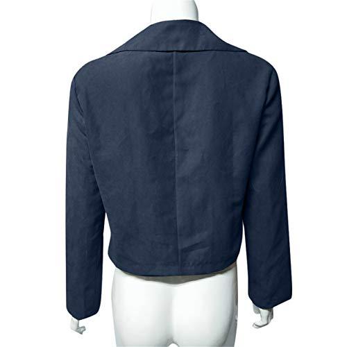 Zipper Veste Longues Bleu Blouson Vestes Casual Outwear Courtes Femmes Up Bellelove Manteau Rtro Collar Cardigan Turn Rivet Manches Dames Down zwFgxCqB
