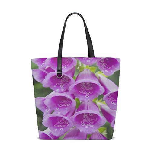 (NQEONR Women Digitalis Purpurea Foxglove Common Foxglove Handle Satchel Handbags Shoulder Bag Tote Purse Messenger Bags)
