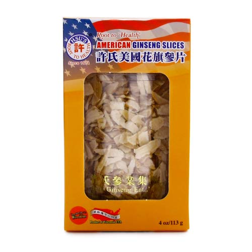 HSU's Ginseng SKU 126MM | Small Mixed Slices | Cultivated Wisconsin American Ginseng Direct from Hsu's Ginseng Gardens | 许氏花旗参 | 4oz jar, 西洋参, B071438CBH