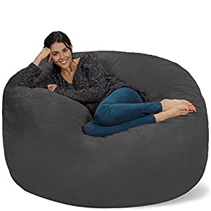 Chill Sack Bean Bag Chair: Giant 5′ Memory Foam Furniture Bean Bag – Big Sofa with Soft Micro Fiber Cover – Black