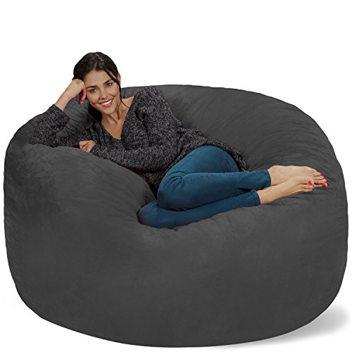 Chill Sack Bean Bag Chair: Giant Memory Foam Furniture Bags and Large Lounger - Big Sofa with Huge Water Resistant Soft Micro Suede Cover - Charcoal, 5 feet