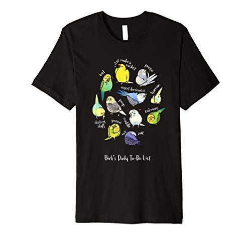 Budgies Daily To-Do List (Dark version) Premium T-Shirt