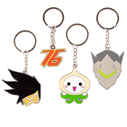Overwatch Keychain Accessory 4 Pack - Tracer, Genji, Soldier 76 and Pachimari - Gamer Character Icon Symbols ()