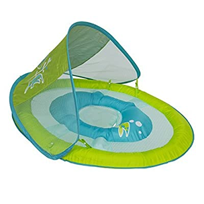 Swimways Baby Spring Float with Sun Canopy - Green Fish: Toys & Games