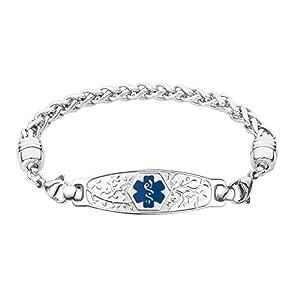 Divoti Deep Custom Laser Engraved Beautiful Olive Medical Alert Bracelet -Wheat Stainless -Deep Blue