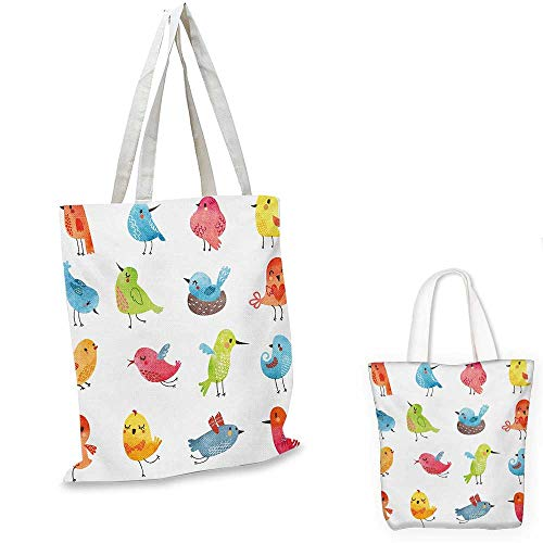 (Animal shopping bag Colorful Cute Birds Watercolor Effect Humor Funny Mascots Paint Brush Art Kids Design foldable shopping bag Multi. 15