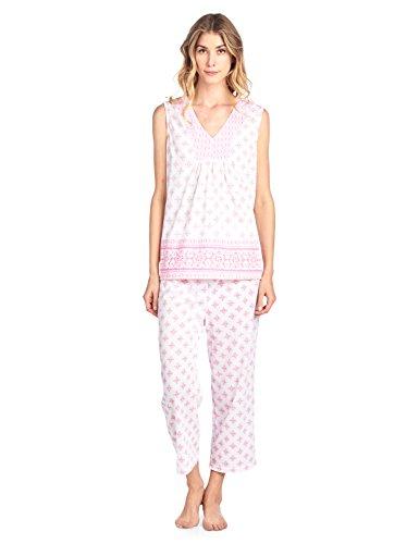 Accent Capri Set - Casual Nights Women's Printed Sleeveless Tank Top & Capri Pajama Set - Pink - Large