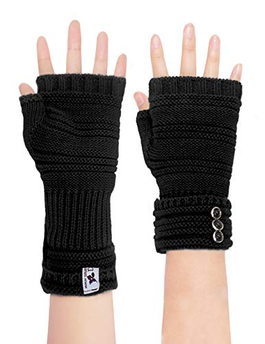Dahlia Women's Knit Fingerless Gloves, Hand & Wrist Warmer, Adjustable, Black (Hand Warmer Women)