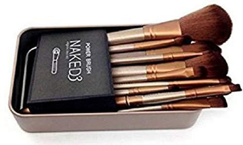 Miss Hot Naked 3 Makeup Brushes (Set of 12, Color Golden)