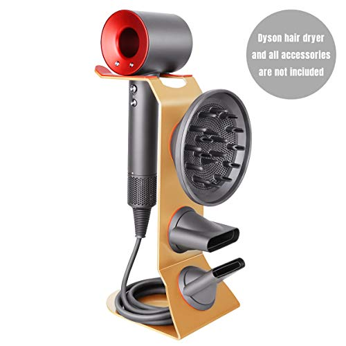 Fle Hair Dryer Stand Holder, Gold Hair Blow Dryer Stand Rack Organizer Compatible for Dyson Supersonic Hair Dryer, Diffuser, Nozzle by Fle (Image #7)