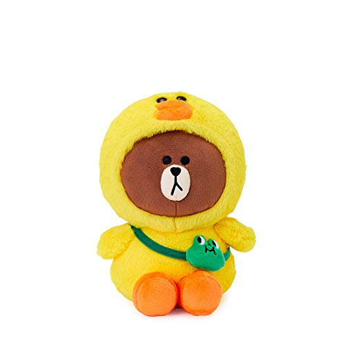 LINE FRIENDS Plush Standing Doll - Brown in Sally Character Costume Soft Toy Figure 10 Inches, Yellow/Brown