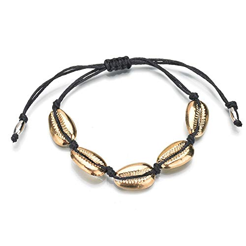TOMLEE Handmade Natural Cowrie Beads Shell Woven Chain Bracelet Adjustable Knot Boho Summer Bracelets Friendship Jewelry (Gold)