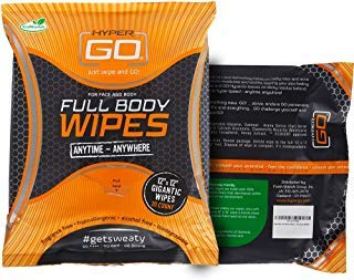 (HyperGo: Full Body Wipes - Body Cleansing Wipes - Clean Off Odor and Sweat - Refresh and Moisturize Skin - All Natural Ingredients - Unscented)