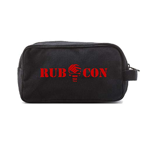 Jeep Rubicon Punisher US Flag Skull Offroad Dual Compartment Toiletry Bag, Black