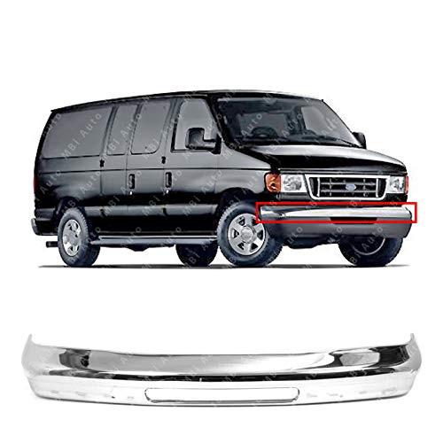 MBI AUTO - Chrome, Steel Front Bumper Face Bar Shell for 1992-2007 Ford Econoline Van E150 E250 E350 92-07, FO1002348 ()