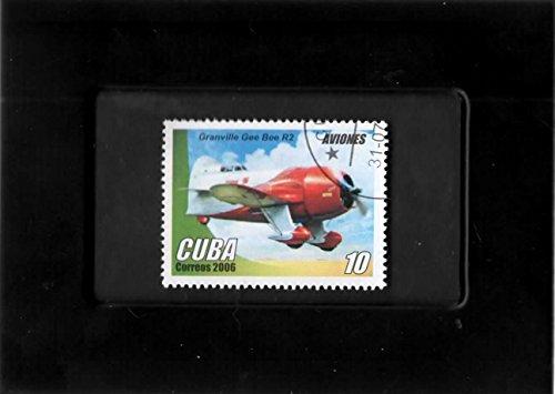 Tchotchke Framed Stamp Art - Vintage Aircraft - Granville Gee Bee R2