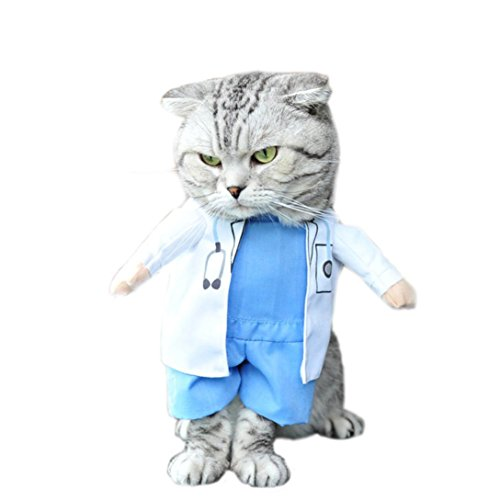 Inkach Dog Cat Pet Shirt Clothes Puppy Cat Doctor Equipment Costume (L, White) (Doctor Dog Costume)