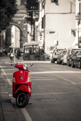 Retro Red Scooter on a Street in Italy Journal: 150 Page Lined Notebook/Diary - Italy Scooter