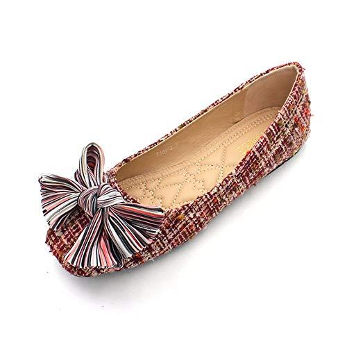 FLYRCX Los Zapatos Planos Ocasionales del Arco Dulce de Las Mujeres Calzan los Zapatos Planos del Trabajo de Oficina Solo Zapatos, 39 UE 36 EU