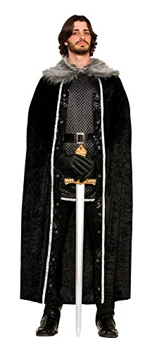 Forum Novelties Men's Medieval Fantasy Faux Fur Trimmed Cape, Black, One Size