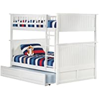 Nantucket Bunk Bed with Raised Panel Trundle Bed, Full Over Full, White
