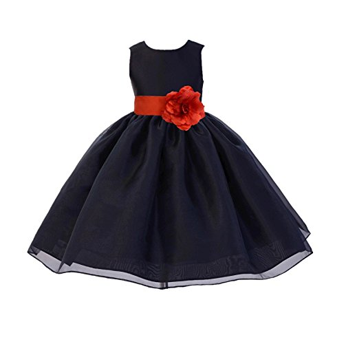 Black Satin Bodice Organza Skirt Formal Flower Girl Dresses Pageant Gown 841S 6 ()
