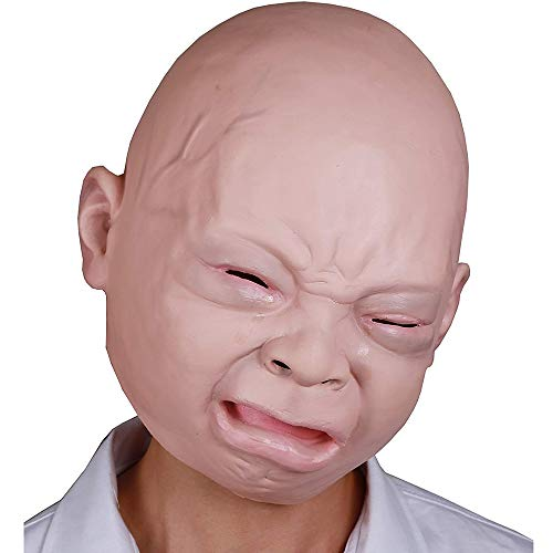 (KONKY Halloween Costume Party Cry Boy Baby Mask Full Head for Adults Latex Cry Baby Mask(Cry)