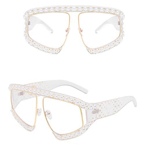 Loair Women Outdoor Eyewear Glasses - Fashion Retro Faux Pearl Frame Square Sunglasses - Pearl Faux Oval