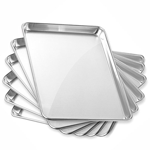 Gridmann 13'' x 18'' Commercial Grade Aluminium Cookie Sheet Baking Tray Jelly Roll Pan Half Sheet - 6 Pans by Gridmann
