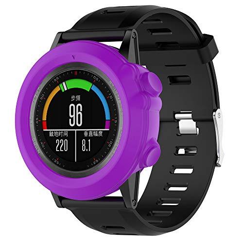 LAEPHO Silicone Case for Garmin Fenix 3/3 HR Quatix 3 Smart Bracelet Universal Case Watchband Anti-Scratch Portable Replacement (Purple)