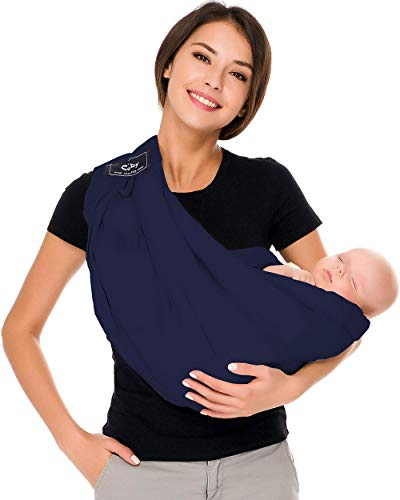 Baby Carrier by Cuby, Natural Cotton Baby Sling Baby Holder Extra Comfortable for Easy Wearing Carrying of Newborn, Infant Toddler and Ideal for Baby Registry, Nursing,Breastfeeding (Aegean Sea)