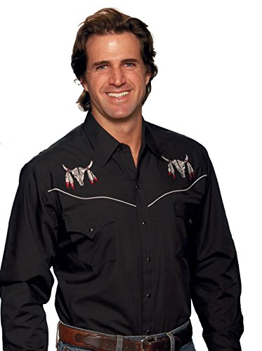 Ely Cattleman Long Sleeve Men's Skull Embroidery Black Snap Western Shirt,X-Large,Black