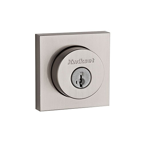 Kwikset 91590-001 Halifax Slim Square Double Cylinder Deadbolt featuring SmartKey in Satin Nickel