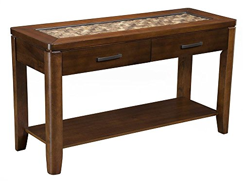 Alpine Furniture Sofa Table in Brown Merlot Finish -