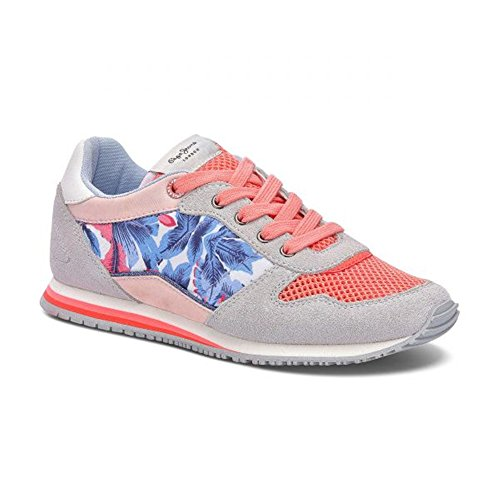 Pepe Jeans London Mädchen Sydney Lace Sneakers, Mehrfarbig (Bright Coral), 32 EU