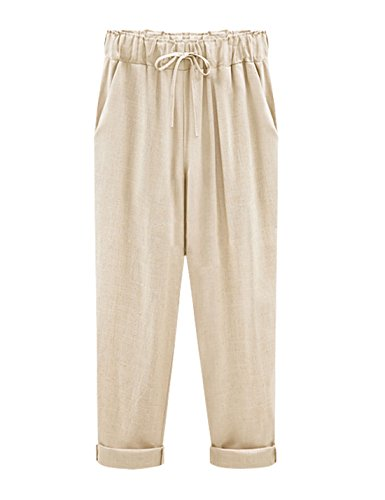 Cotton Pants Cropped (Yeokou Women's Casual Loose Baggy Linen Drawstring Summer Thin Cropped Harem Pants)