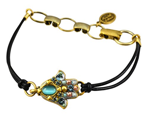 Michal Golan Gold Plated Small Hamsa Hand Bracelet with Blue Cats Eye and Crystals on Leather Cord