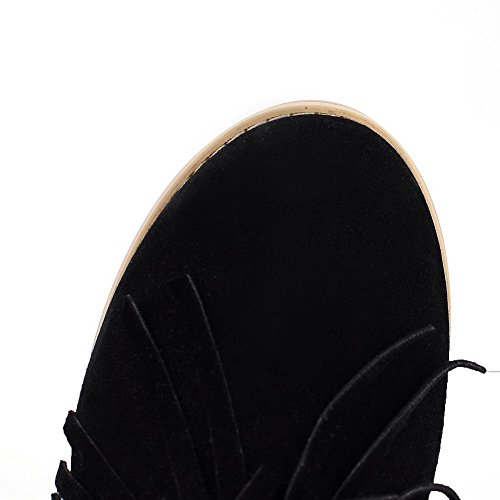 Allhqfashion Women's Low-Top Solid Pull-On Round Closed Toe Low-Heels Boots Black UPzRwUL2