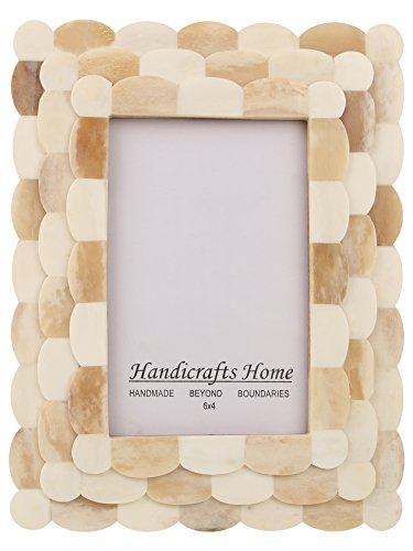 Picture Photo Frame Scalloped Inspired Handmade Naturals White Bone Frames Size 4x6 Inches -