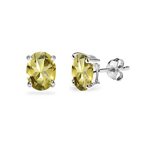 Sterling Silver Citrine 7x5mm Oval-Cut Solitaire Stud Earrings ()
